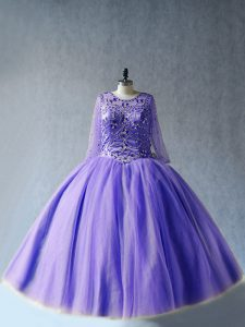 Floor Length Ball Gowns Long Sleeves Lavender 15 Quinceanera Dress Lace Up