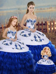 Customized Royal Blue Organza Lace Up 15 Quinceanera Dress Sleeveless Floor Length Embroidery and Ruffled Layers and Bowknot