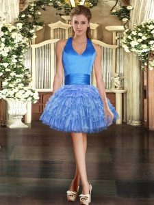 Captivating Blue Organza Lace Up Celebrity Inspired Dress Sleeveless Mini Length Beading and Ruffled Layers