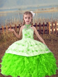 Halter Top Sleeveless Kids Pageant Dress Floor Length Beading and Embroidery and Ruffles Organza