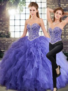 Cute Floor Length Lavender 15th Birthday Dress Tulle Sleeveless Beading and Ruffles
