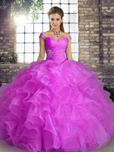 Lilac Ball Gowns Organza Off The Shoulder Sleeveless Beading and Ruffles Floor Length Lace Up 15th Birthday Dress