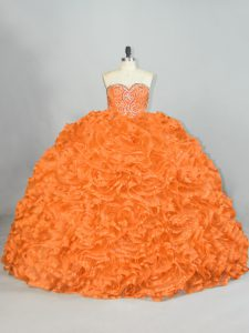 Glorious Orange Sweet 16 Dresses Sweet 16 and Quinceanera with Beading and Ruffles Sweetheart Sleeveless Lace Up