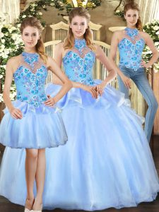 Customized Blue Organza Lace Up Halter Top Sleeveless Floor Length Vestidos de Quinceanera Embroidery