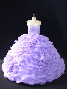Lavender Organza Lace Up Sweetheart Sleeveless Quinceanera Gowns Beading and Pick Ups and Hand Made Flower