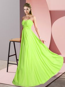 Yellow Green Sleeveless Floor Length Ruching Lace Up Prom Gown