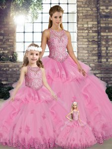 Sexy Rose Pink Ball Gowns Lace and Embroidery and Ruffles Sweet 16 Dresses Lace Up Tulle Sleeveless Floor Length