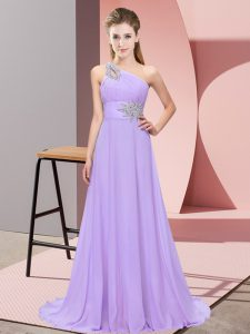 Fantastic Floor Length Lavender Going Out Dresses Chiffon Sleeveless Beading