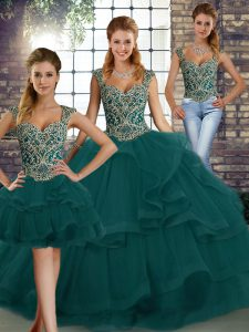 Enchanting Peacock Green Tulle Lace Up Sweet 16 Quinceanera Dress Sleeveless Floor Length Beading and Ruffles