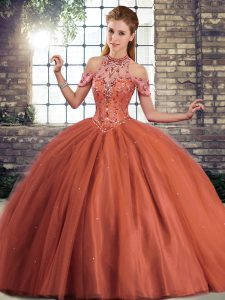 Sweet Halter Top Sleeveless Brush Train Lace Up Quinceanera Gowns Rust Red Tulle