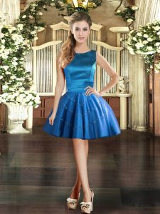 Charming Scoop Sleeveless Prom Dresses Mini Length Appliques Blue Tulle