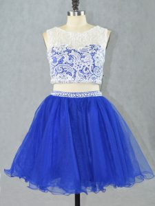 Customized Sleeveless Mini Length Lace and Appliques Zipper Evening Dress with Royal Blue