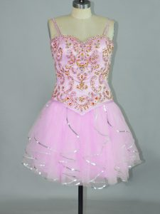 A-line Prom Dress Rose Pink Spaghetti Straps Tulle Sleeveless Mini Length Lace Up