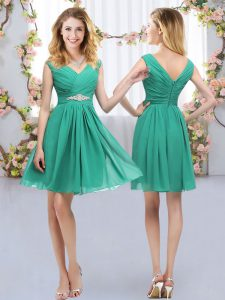Turquoise Empire Belt Dama Dress for Quinceanera Zipper Chiffon Sleeveless Mini Length