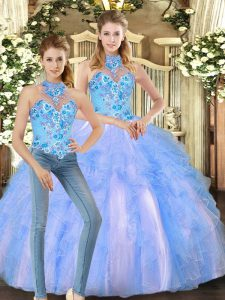 Multi-color Two Pieces Embroidery and Ruffles Quinceanera Dress Lace Up Tulle Sleeveless Floor Length
