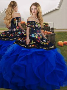 Off The Shoulder Sleeveless Tulle Quinceanera Dress Embroidery and Ruffles Lace Up
