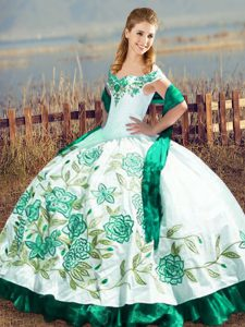 Clearance Satin and Organza Off The Shoulder Sleeveless Lace Up Embroidery and Ruffles Quince Ball Gowns in Green