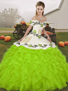 Beauteous Floor Length Yellow Green 15th Birthday Dress Organza Sleeveless Embroidery and Ruffles