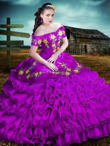 Dramatic Purple Sleeveless Organza Lace Up Sweet 16 Dresses for Sweet 16 and Quinceanera