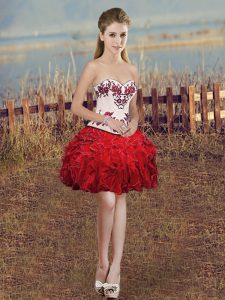 Charming Red Organza Lace Up Sweetheart Sleeveless Mini Length Prom Homecoming Dress Embroidery and Ruffles