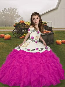 Pretty Floor Length Ball Gowns Sleeveless Fuchsia Custom Made Pageant Dress Lace Up