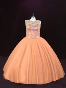 Peach Scoop Lace Up Beading Sweet 16 Quinceanera Dress Sleeveless