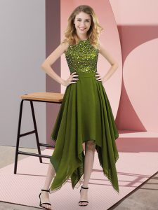 Olive Green Sleeveless Beading and Sequins Asymmetrical Prom Evening Gown