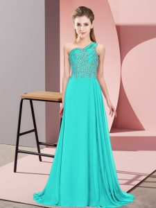 Fancy Turquoise Empire One Shoulder Sleeveless Chiffon Floor Length Side Zipper Beading Prom Dresses