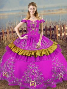 Graceful Purple Off The Shoulder Neckline Embroidery Quinceanera Dress Sleeveless Lace Up