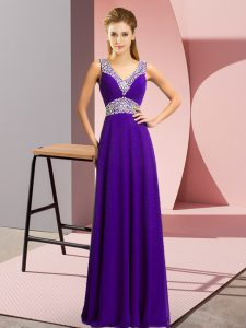 Adorable V-neck Sleeveless Dress for Prom Floor Length Beading Purple Chiffon