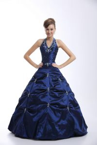 Taffeta Halter Top Sleeveless Lace Up Embroidery and Pick Ups Ball Gown Prom Dress in Royal Blue
