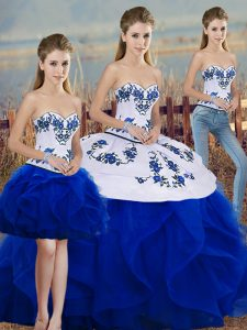Modest Royal Blue Three Pieces Tulle Sweetheart Sleeveless Embroidery and Ruffles and Bowknot Floor Length Lace Up Sweet 16 Dress