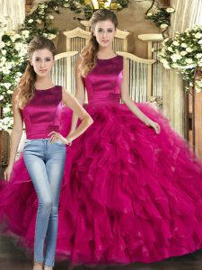 Floor Length Fuchsia Ball Gown Prom Dress Tulle Sleeveless Ruffles