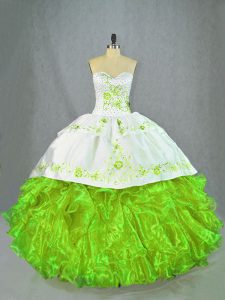 Sweetheart Sleeveless Sweet 16 Dresses Brush Train Beading and Embroidery Green Satin and Organza