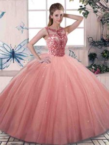 Beauteous Tulle Sleeveless Floor Length 15 Quinceanera Dress and Beading