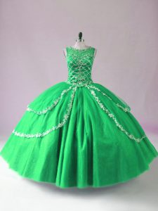New Style Green Tulle Zipper Scoop Sleeveless Floor Length Ball Gown Prom Dress Beading