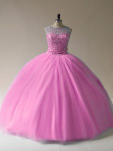 Ball Gowns Vestidos de Quinceanera Baby Pink Scoop Tulle Sleeveless Floor Length Lace Up