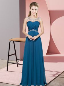 Customized Sleeveless Floor Length Beading Backless Going Out Dresses with Teal