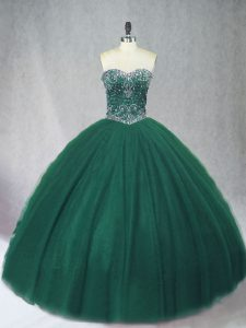 Dark Green Sleeveless Floor Length Beading Lace Up Vestidos de Quinceanera