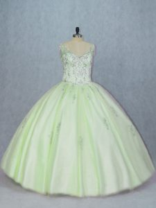 Ball Gowns 15th Birthday Dress Yellow Green V-neck Tulle Sleeveless Lace Up