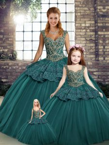 Fashionable Straps Sleeveless Lace Up Ball Gown Prom Dress Green Tulle