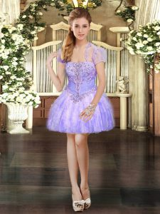 Artistic Sleeveless Organza Mini Length Lace Up Cocktail Dresses in Lavender with Beading and Lace and Ruffles