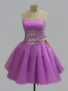 Superior Lilac Sleeveless Beading Mini Length Prom Dress