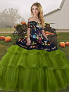 Ball Gowns Sleeveless Olive Green Sweet 16 Quinceanera Dress Brush Train Lace Up