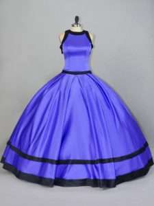 Purple Sleeveless Satin Zipper Quinceanera Gown for Sweet 16 and Quinceanera