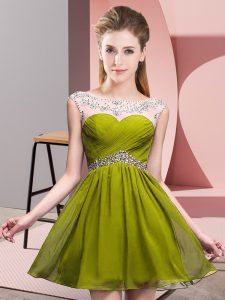 Attractive Scoop Sleeveless Backless Homecoming Dress Olive Green Chiffon