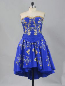 Suitable Royal Blue Lace Up Sweetheart Embroidery Prom Party Dress Taffeta Sleeveless