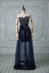 Floor Length Navy Blue Cocktail Dress Tulle Sleeveless Beading and Bowknot