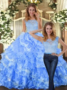 Discount Light Blue Sleeveless Lace and Ruffled Layers Floor Length Quinceanera Gowns