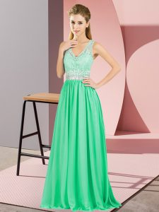 Classical Sleeveless Beading and Lace and Appliques Backless Prom Gown